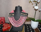 African Pink vinyl disk beads Jewellery  Necklace and earrings set  Handmade