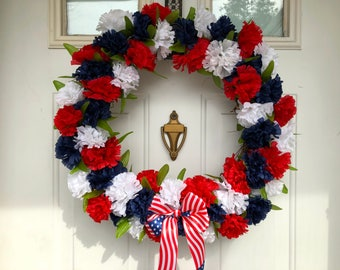Red, White, & Blue USA Patriotic Floral Wreath with Flag Detailed Bow