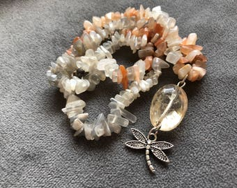 Handcrafted mixed moonstone necklace