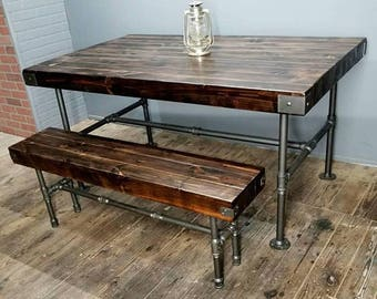 Rustic Industrial Dining Set, Table & Bench, Thick Wood Planks, Steel Pipe Base, Custom Finish, Steampunk