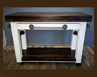 Customize this Kitchen Island, Rolling Cart, Butcher Block Wood Top, Steel Pipe, Rustic Industrial, Farmhouse Decor