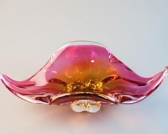 Josef Hospodka Vintage Designer Czechoslovakian Art Glass bowl  c.1960s