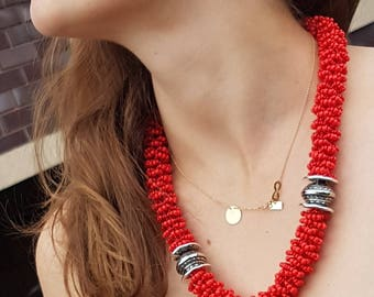 red necklace red beads red beads seed beads small beads long color red statement necklace beaded necklace long boho necklac
