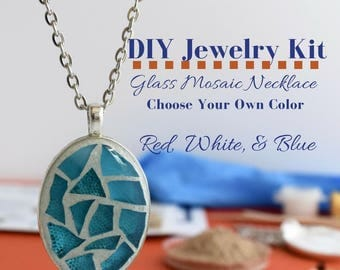 DIY Mom Gifts, Make Your Own Art, Necklace DIY Kit, DIY Christmas Gifts, Glass Mosaic Craft Idea Stocking Stuffer Gift Idea Under 10