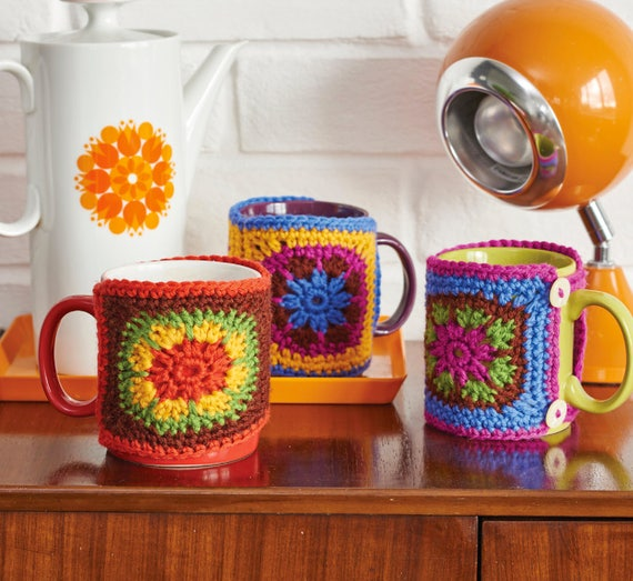 Crochet Mug Hug, Mug Hugger, Crochet Pattern, Simply Crochet, Granny Square, Retro Crochet, Vintage Crochet, Crochet Tutorial, Louise Smith