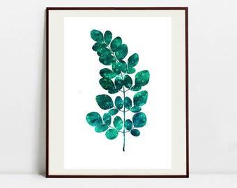 Leaf Art Botanical Print , Leaf Watercolor Painting, Fern Green Illustration, Digital Download Art Print