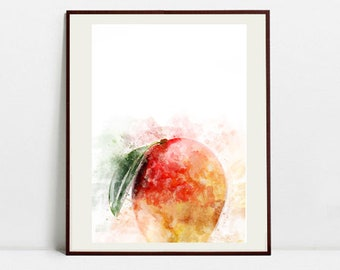 Mango Watercolor Art Print, Mango Illustration, Kitchen Wall art, Kitchen Wall Decor, Fruit Print
