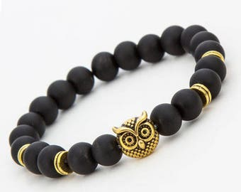 Gold Plated Owl Head Bracelet Beaded black Matte Stone Bracelet