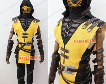 Men's MK 2 Kombat X Scorpion Cosplay Costume with mask