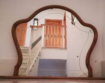 Large Old Wooden Mantle Mirror.