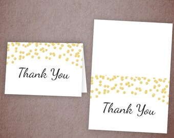 Thank You Card Printable, Gold Confetti Thank You Cards, Bridal Shower, Baby Shower Thank You, Wedding Shower, A001
