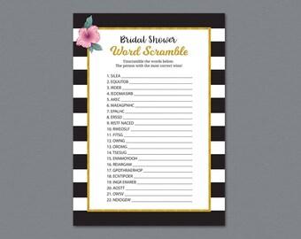 Kate Spade Bridal Word Scramble Game, Bridal Shower Games Printable, Unscramble, Word Search, Black White Stripes, Wedding Shower, A014