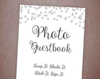 Photo Guest Book Sign, Printable Guest Book Sign, Wedding Photo Booth Sign, Bridal Shower, Baby Shower Sign, Silver Confetti Wedding, A003