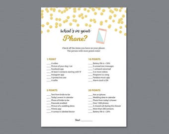 Whats in Your Phone Game Printable, Gold Baby Shower Games, What's on your Phone, Wedding Shower, Instant Download, Gold Polka Dots, A004