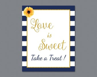 Love is Sweet Take a Treat Sign, Blue White Stripes, Love is Sweet Sign Printable, Wedding Sign, Favor Table Sign, Bridal Shower, A027