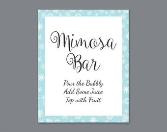 Mimosa Bar Table Sign, Bubbly Bar Sign, Cocktail Drink Sign, Winter Snowflakes Theme, Wedding Sign, Baby Shower, Bridal Shower Decor, A026