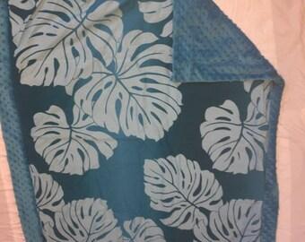 Minky aloha print baby blanket