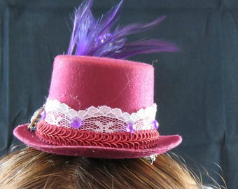 Burgundy and Purple Mini Top Hat Fascinator.