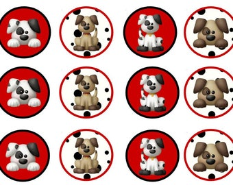 Black, White, & Red Puppy Cupcake Toppers