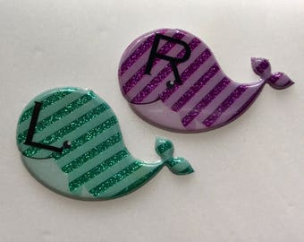 Whale Xray Markers Mint/Purple Customized w/Initials