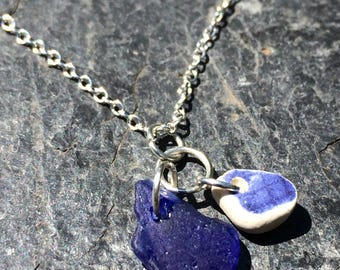 Colbalt seaglass  and sea ceramic necklace