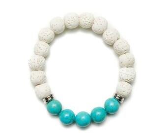 White Lava Bracelet, Essential Oil Diffuser Bracelet, Blue Diffuser Bracelet, Bridesmaids Gifts Jewelry, Lava Bead Bracelet for Women