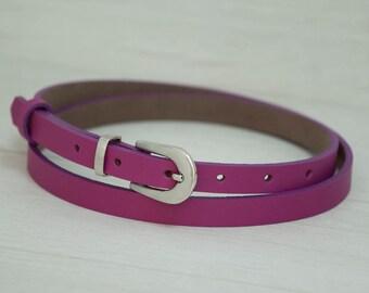 Leather Belt, Pink Leather Belt, Pink Womens Belt, Skinny Belt, Thin Belt, Dress Belt
