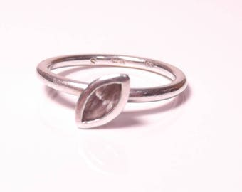 Vintage Silver ring with large cubic zirconia