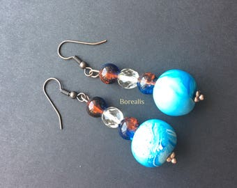 Hypoallergenic earrings polymer clay Polymer Clay Bohemian crystal Glass shades of Sea