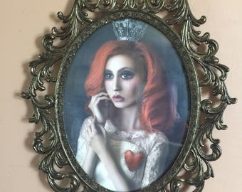 Queen Of Hearts In Ornate Bronze Frame With Beveled Glass