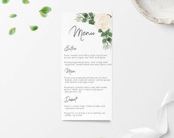 Wedding Menu, Wedding Menus, Wedding Menu Card, Menu, Wedding Signage, Wedding Sign, Printable Wedding Menu, Printable Menu