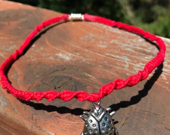 Bright Red Twist Hemp Choker Necklace with Silver Ladybug Charm and Silver Magnetic Clasp