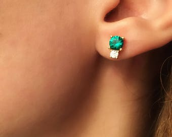 Emerald Stud Earrings. Green Cz Studs. Minimalist Jewelry. Gold Cz Earrings. Sterling Silver Studs