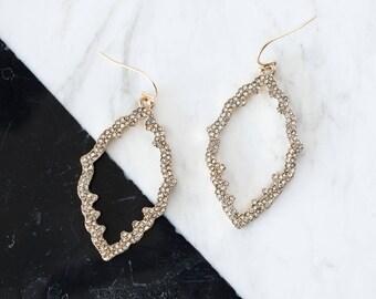 Gold earrings, Bridesmaid earrings, , Moroccan Outline earrings, Dangle drop earrings, Minimalist Dainty earrings, Clover earrings