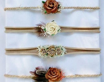 Tieback, Stretch headband, Newborn, Baby, Orange headband, Photo Props, Organic,Headband prop, Floral, Brown headband, Orange tieback,Rustic