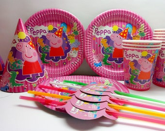 Peppa Pig paper tableware. Plates, cups, party hats, straws for children's holiday or birthday. Peppa Pig Set for birthday. Peppa Pig party