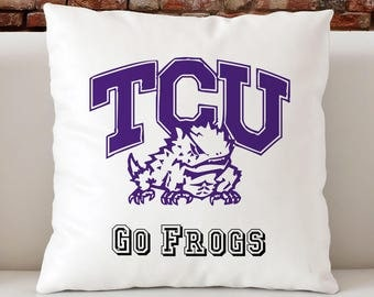 Horned Frogs Pillow, TCU Pillow, Go Frogs Pillow, Texas Christian University Pillow, Dorm Decor, Gift for TCU Students, Varsity Pillow