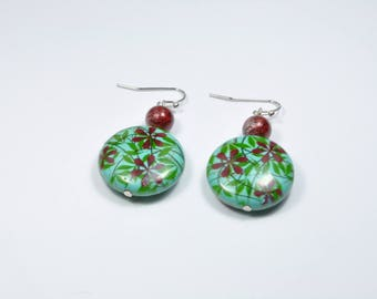 Earrings, green and Red