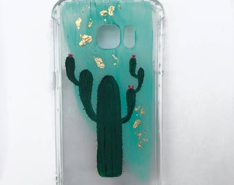 Handmade cactus phone case/ clear phone case/ iphone 6 / 7 / Samsung s7/ Gift for her/ bridesmaid gift