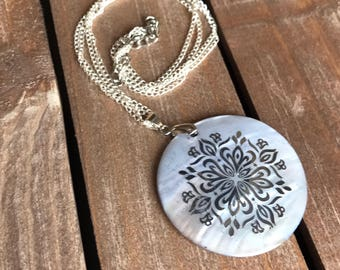 Silver Statement Necklace - Mother of Pearl Shell Jewelry - Sterling Silver Jewelry - Silver Pendant - Boho Chic
