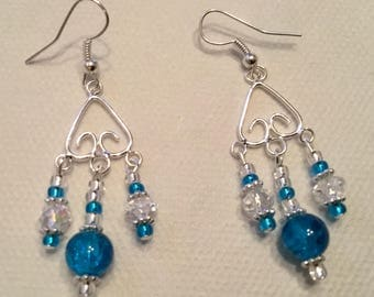 Bright turquoise blue dangle earrings