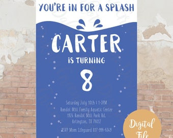 Time For a Splash Birthday Invitation / Swimming Birthday Invitation