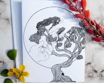 Love Themed Card/Romantic Card/Valentine's Day Card/Valentine Gift/Blank Notecard Set/Set of 6/Tree of Life/Tree Illustration/CC-31