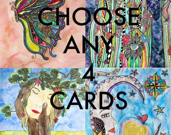 Any 4 Cards /Mix and Match Cards /Multi Buy/Card Bundle/Mix & Match/Bulk Cards/Greeting Card Set/Pack of Cards/Choose Any4/Wholesale Cards