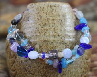 Viking inspired double strand bracelet,blue and multicolored glass,silver plated lobster clasp, accent beads,twisted rings, B154