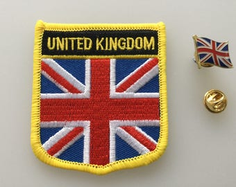 United Kingdom Shield Country Flag Embroidered Patch and Pin Badge Set
