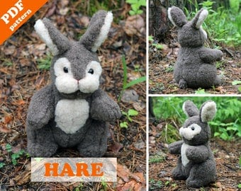 Stuffed animal pattern - Hare (bunny) PDF sewing patter. Plush toy sewing pattern.  Softie DIY toy - pattern & tutorial.