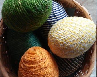 Reduced - Easter Egg - Yarn Wrapped Eggs - Craft Eggs - Easter decor - Easter Basket filler-6 items