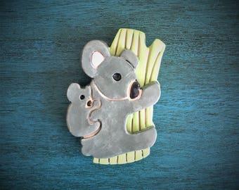 Ceramic Mamma and Baby Koala Bear Magnet or Ornament