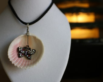 Butterfly charm wire wrapped sea shell necklace